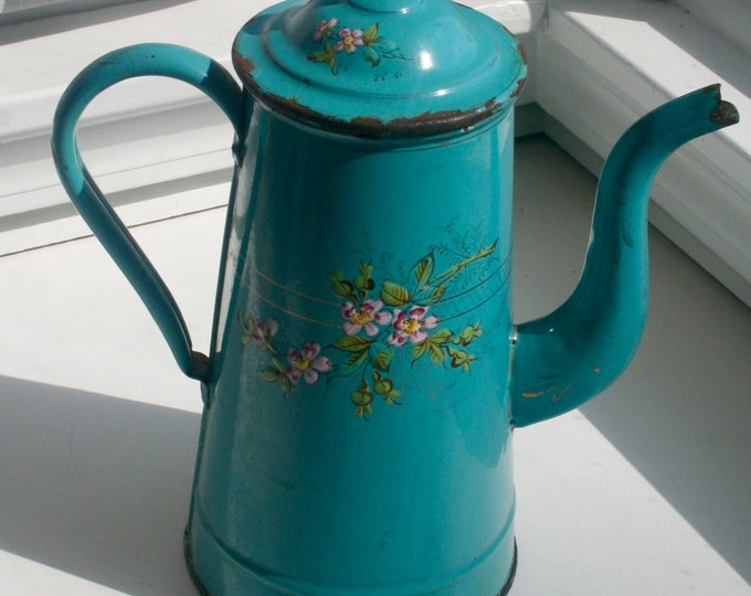 Featured listing image: SPRINGSALE 60% OFF Original Price: Antique French Enamelware Coffee Pot, hand-painted, raised enamel Flowers, c. 1880's, teal