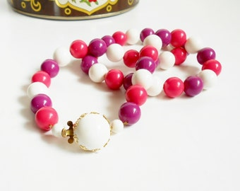 Pink and Purple Bead Necklace, Signed West Germany, Vintage Costume Jewelry, Fancy Clasp, Pink and White Plastic Beaded Necklace