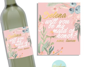 Bridesmaid Wine Label - Pink Floral - Will You Be My Bridesmaid - Maid of Honor - Bridesmaid Proposal