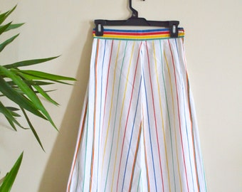 Vintage High Waisted Rainbow Striped White A Line Skirt, 1970s Boho Mid Length Skirt, Multicolored