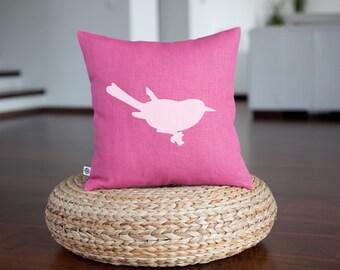 Bird pillow - fuschia pink pillow with bird print - bird cushion - custom pillow with print - linen pillow - 0310