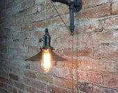 Industrial Wall Sconce - Pendant Edison - Smoked Glass Shade - Edison Bulb - Wall Light