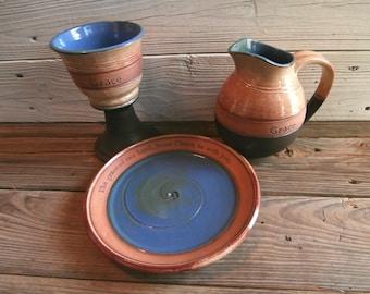 Stoneware Pottery Communion set