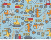 Construction Trucks Cotton Flannel Fabric, by the half yard - Boy Toys, Trucks, Tractors, Wheels