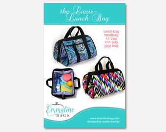 The Luxie-Lunch Bag - PDF Sewing Pattern - Lunch Bag, Handbag, Toiletries Kit Bag.