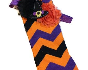 HALLOWEEN Matching Set, Orange,Black and Purple Chevron Print Leg Warmers with Purple Bow and a Matching Shabby Chic Headband
