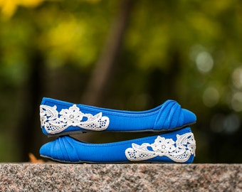 Wedding Shoes - Blue Bridal Ballet Flats, Blue Wedding Flats, Blue Bridal Flats, Bridal Shoes, Flat Wedding Shoes with Ivory Lace. US Size 7