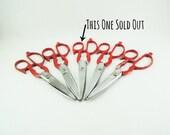 Vintage Kitchen Scissors, One Pair Red Handle Kitchen Scissors, Shears, Multi-Tool Classic Shears, Retro Kitchenware, Industrial Scissors