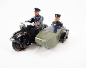 Vintage Dinky Toy, Police Motorcycle with Sidecar Model 42B, Vintage Diecast, Good Condition, Green, Navy Blue, Sidecar Passenger, 1950s