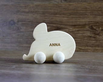 PERSONALIZED Wood Rolling Toy / Natural Baby Animal Toy / Eco Friendly