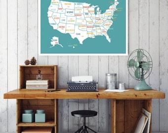 USA Map Print, Turquoise, Map Decor, Travel Decor, Wall Art for Kids, Nursery Decor, Kids USA Map, Travel Art, Wedding Gift, Map Wall Art