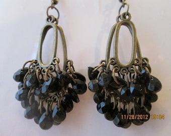 Bronze Tone Earrings with Black Teardrop Dangles