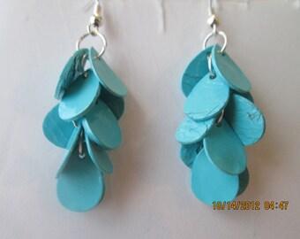Damgle Earrings with Layered Aqua Blue Teardrop Beads