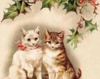 Two Christmas Kittens - New 4x6 Photo Print From A Vintage Postcard CH011