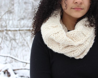 Chunky textured cowl scarf, Knit circle scarf, Fashion scarf - The Abigail - Fisherman knit scarf