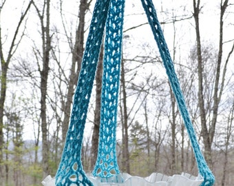 Crochet Candle Holder Hanging Plant Potpourri Upcycle Recycle Glass Lamp Shade Blue Turquoise Handmade Littlestsister
