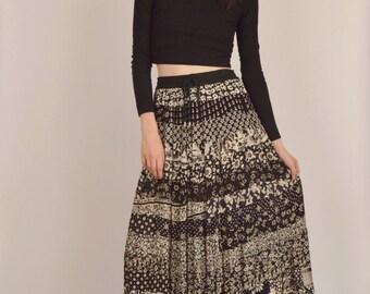 Gypsy Floral Skirt Boho Hippie Gauzy