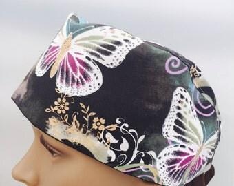 Surgical Scrub Cap - Butterflies Scrub Hat - animal scrub cap - outdoors scrub hat