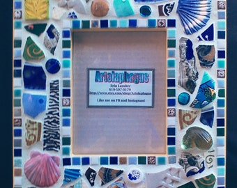 Original Mosaic Picture Frame (5 x 7 opening) in a Ocean Theme