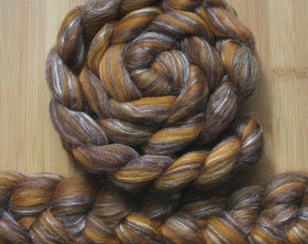 "Merino Silk 'GLISTEN Roving' in ""Jungle King"" colorway - Toffee, Camel Brown, White blends - Spinning Felting Braid Fiber"