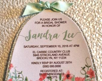 Bridal Shower Dress Invitation, Watercolor flower Invitation, Bridal Shower Invite, Watercolor Bridal Shower Invite, Die cut Dress Invite