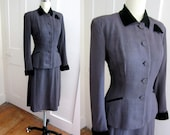 1940s Gabardine Suit - Lightweight Wool Suit - 40s - Purple - 1950s - Vintage - Black Velvet Collar and Cuffs - Eggplant - Jacket - Skirt