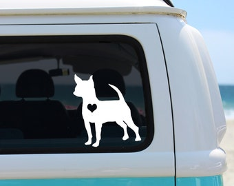 Chihuahua with Heart Vinyl Decal Sticker - Laptop Sticker - Car Sticker - Window Decal - Chihuahua Heart Decal