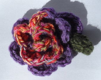 Purple and  Multicolour Crochet Rose Flower Brooch Corsage Large Oversized
