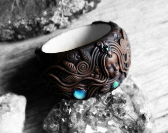 Celestial Goddess Bangle with Moonstone Gemstones - Handcrafted Clay on Wood.. Clay with Healing Gemstone and Crystal Jewelry.