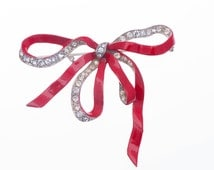 Red Trifari Bow Brooch Joseph Wuyts for Alfred Philippe