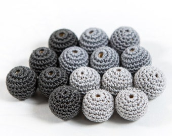 "Crochet beads 5 PCS 3/4"" 20 mm Grey tones Wooden crochet cotton beads Crocheted bead Round beads Necklaces"