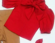 Bow Blouse long and short puffy sleeves