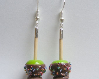 Food Jewelry  Candy Apple Earrings, Miniature Food Jewelry, Mini Food Jewelry, Handmade Jewelry, Apple earrings, Candy Apple Jewelry, Kawaii