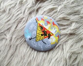 Bill Cipher, 56mm Matte Badge, Gravity Falls, Pin, Brooch, Cartoon