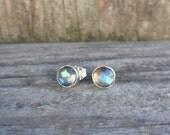 Labradorite stud earrings - labradorite jewelry - labradorite post earrings - sterling silver earrings