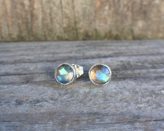Labradorite stud earrings - labradorite jewelry - labradorite post earrings - sterling silver earrings