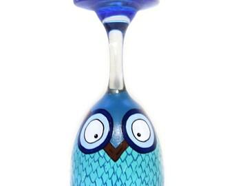Blue Owl Wine Glass Tea Light Candle Holder