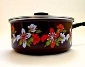 Vintage Floral Enamel Lidded Saucepan