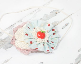 Apple of My Eye  - headband in light blue, dusty pink, red and cream (RTS)