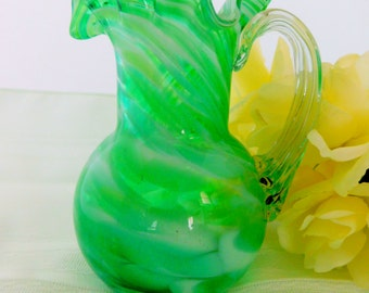 Pitcher, Green and White Swirl Pitcher, Vase, Lacey Top Pitcher, Water Pitcher