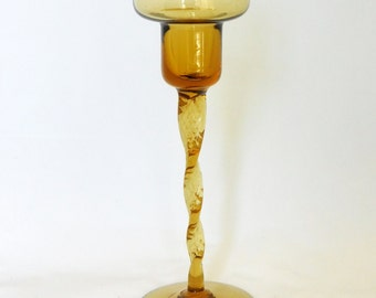 Amber Glass Candle Holder, Tall Candle Holder