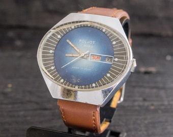 Vintage Poljot mens watch, vintage mens watch, soviet mechanical watch, vintage russian watch ussr ccp soviet watch