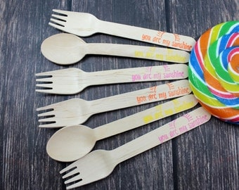 You Are My Sunshine, You Pick Colors and Utensil Type, 12 Hand Stamped Wooden Forks, Spoons, Knives, Wooden Utensils, Cutlery, Silverware