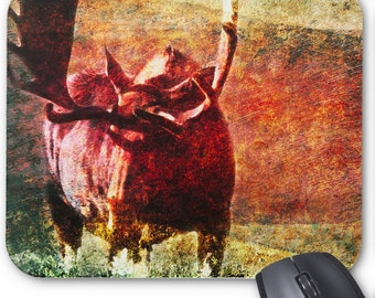 Abstract Custom Mouse Pad with a Bull Moose Illustration