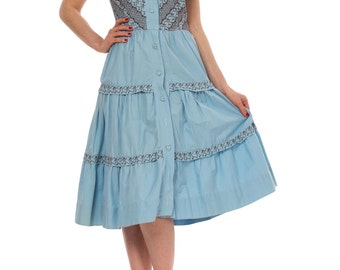1940s Light Blue Hearts Embroidery Front Buttoned Shirt Dress SIZE: S, 4