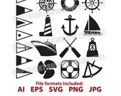Nautical clipart, silhouette, clipart, anchor, sailboat, nautical clip art, Vector, clip art, ship, windrose, illustrations, svg, vector