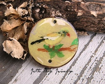 Gold Finch- art resin pendant original painting. little yellow bird coconut bead. bird bead. ooak. nature inspired. Jettabugjewelry