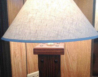 Alabama Table Lamp, Electric Wood Lamp, Industrial Style Lamp, vintage electrical Lighting, Alabama Table Lamp with Shade, USA wood lamp