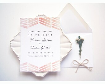 FLAT SAMPLE | Save the Date | Watercolor Save the Date | Painted Save the Date | Save the Date without photo | Chevron Save the Date