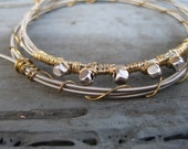 Guitar String Bangle Bracelet in Silver and Gold